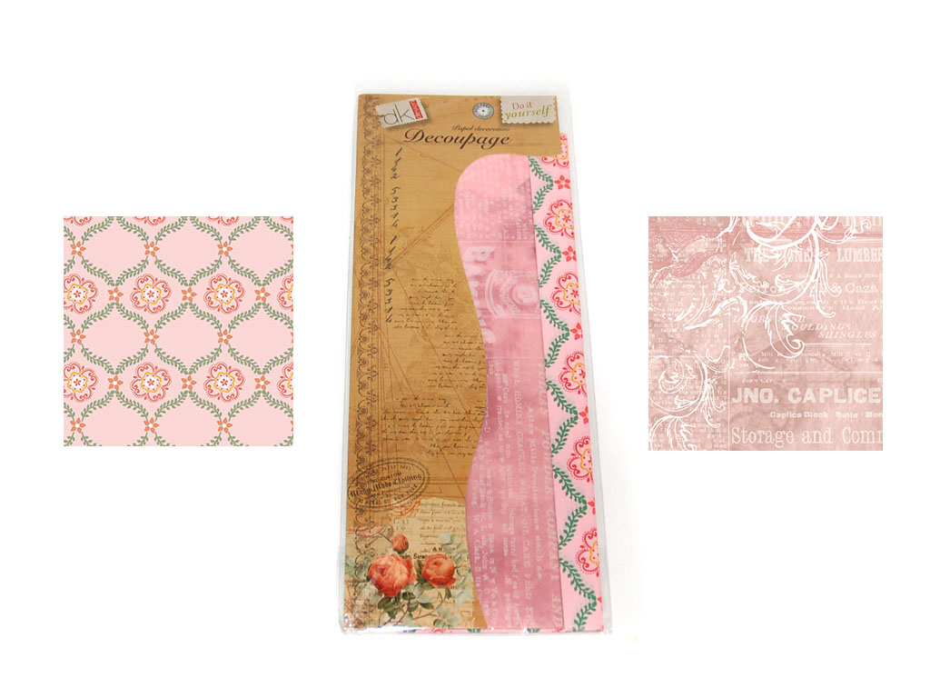 PAPEL DECOUPAGE 6 PCS. 2 DECORADOS cod. 2500905