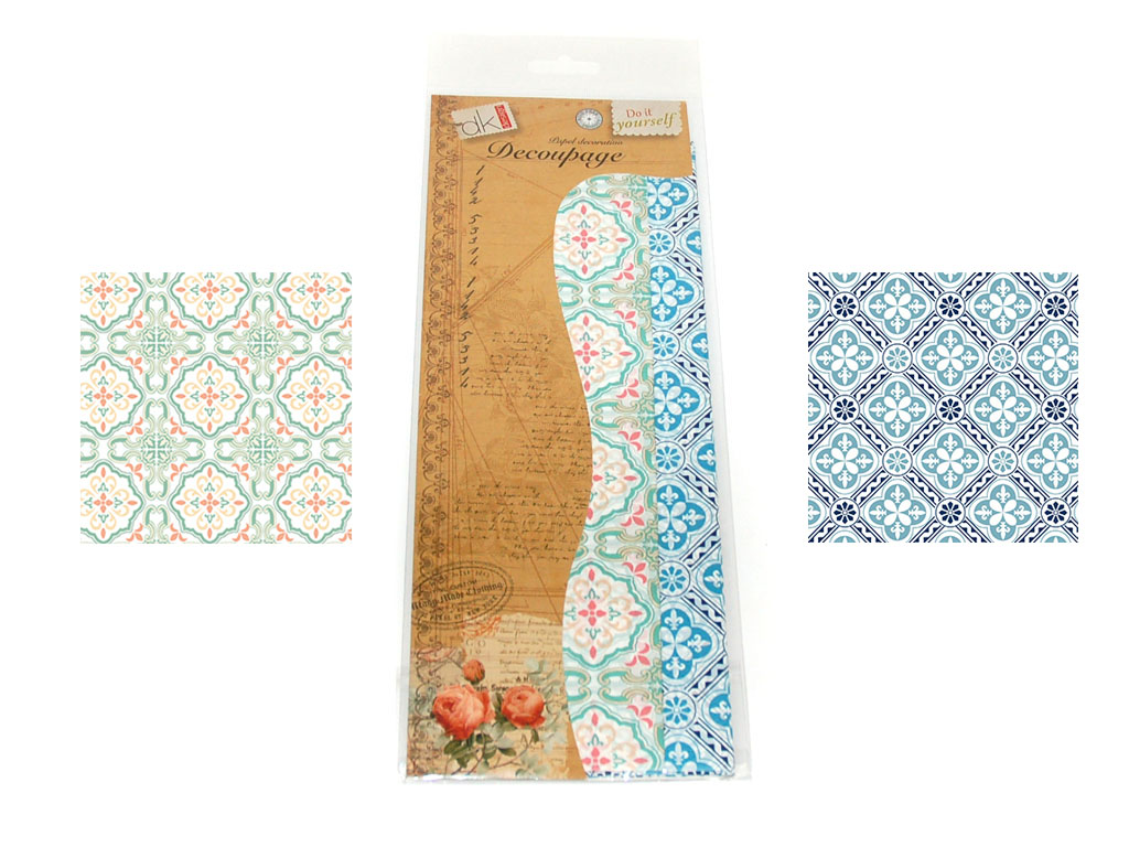 PAPEL DECOUPAGE 6 PCS. 2 DECORADOS cod. 2500907