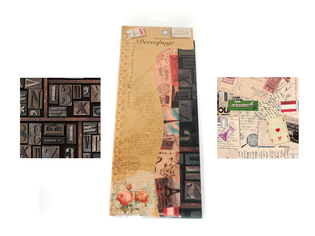 PAPEL DECOUPAGE 6 PCS. 2 DECORADOS cod. 2500910