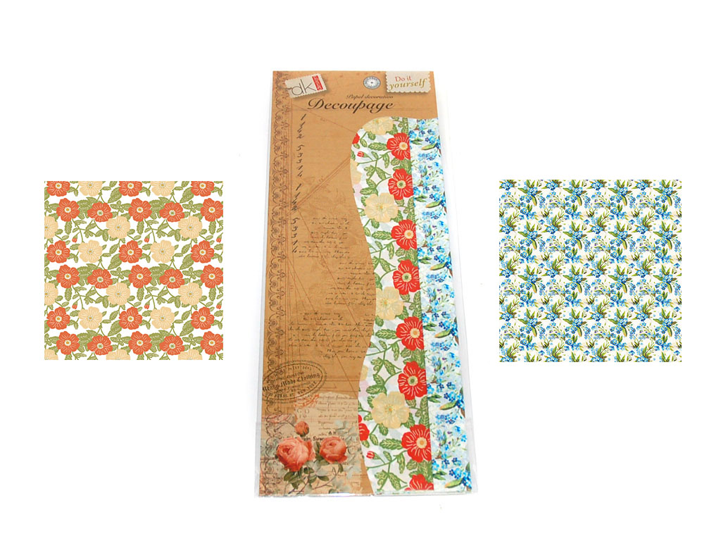 PAPEL DECOUPAGE 6 PCS. 2 DECORADOS cod. 2500923