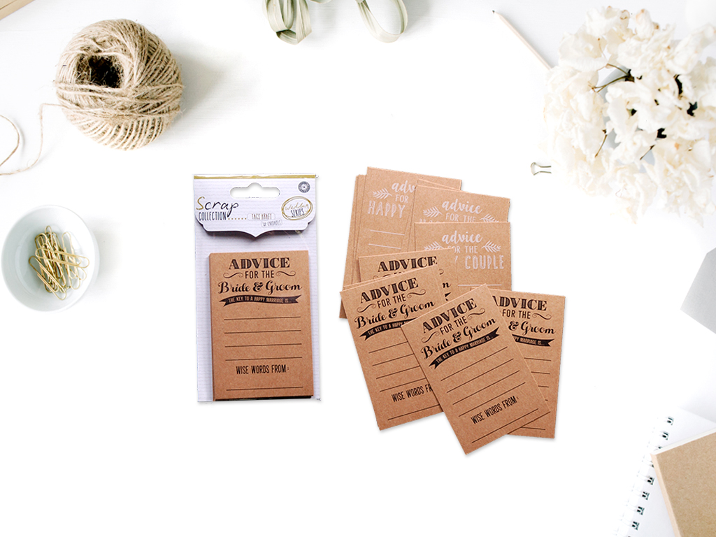 PACK 12 TAGS KRAFT WEDDING SERIES cod. 2501626