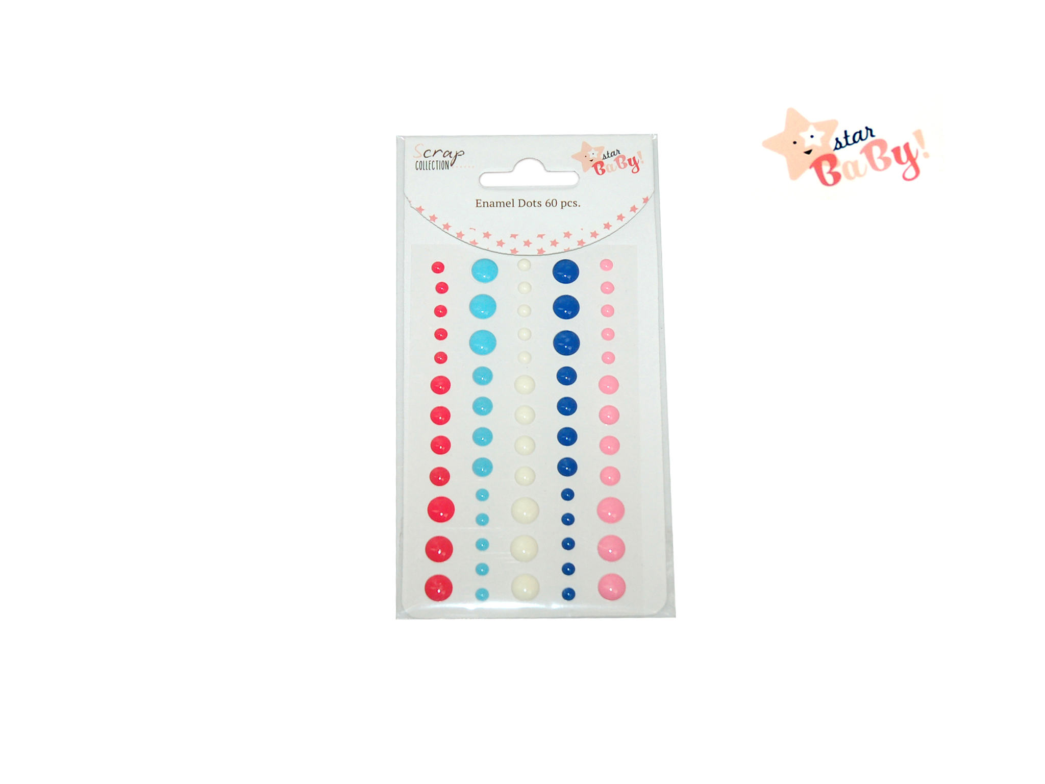 ENAMEL DOTS 60 PCS STAR BABY GIRL cod. 2501777