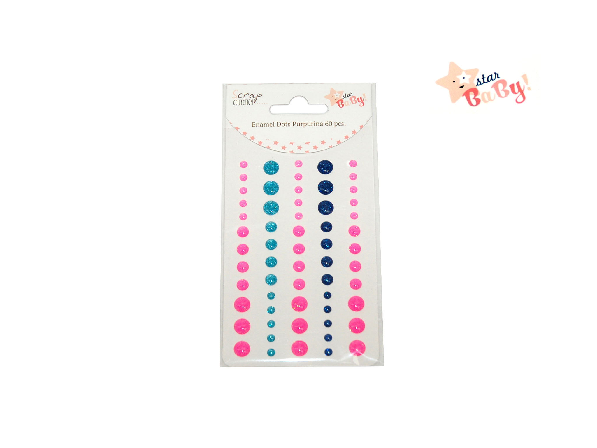 GLITTER DOTS 60 PCS STAR BABY GIRL cod. 2501782