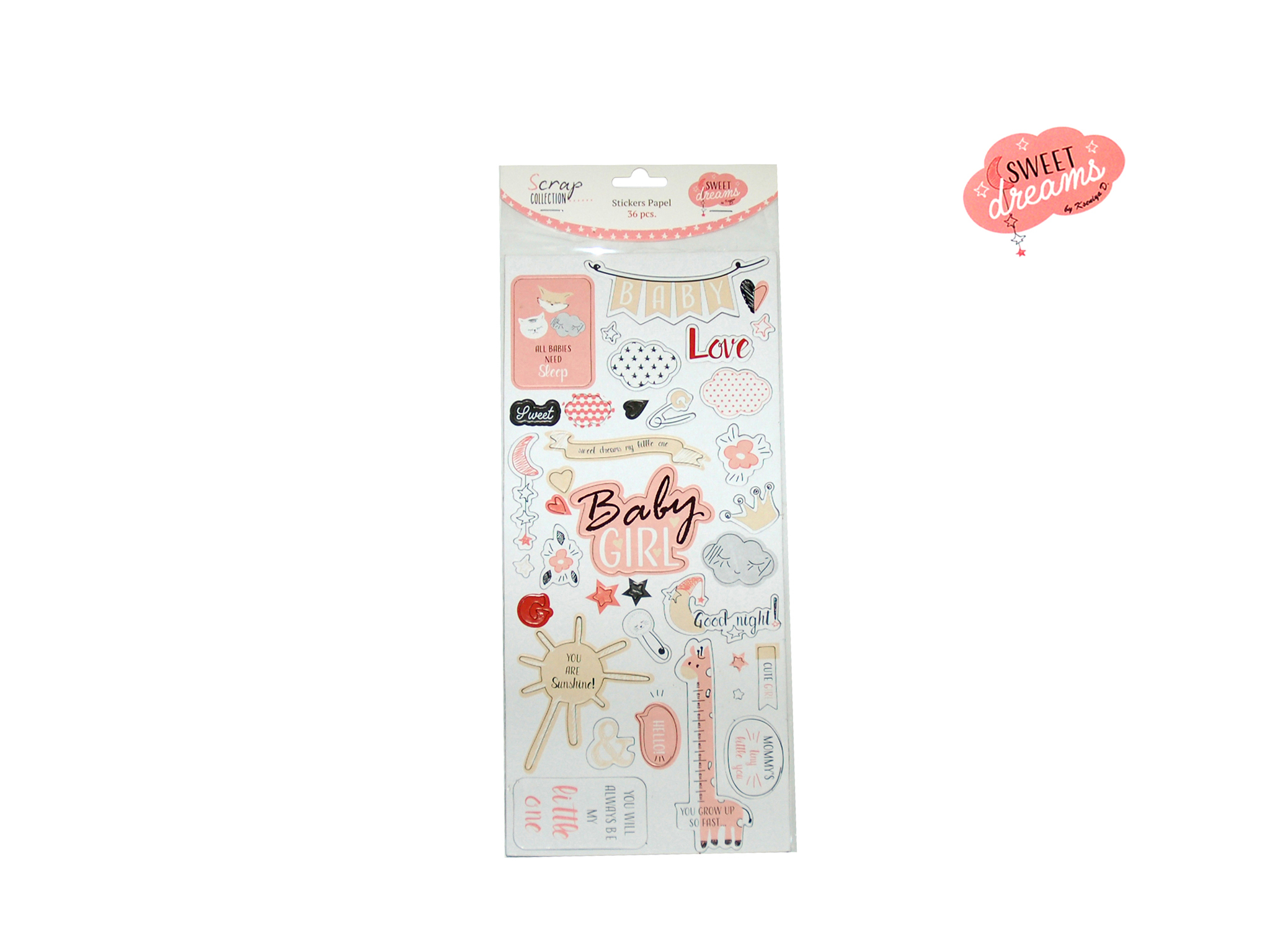 STICKERS PAPEL SURT. SWEET DREAMS GIRL cod. 2501789